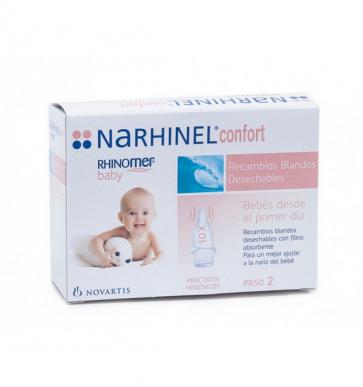 Rhinomer Baby Narhinel Confort 8 Recambios Blandos Desechables - Higiene Nasal del Bebé
