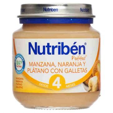 Nutribén Potito Bebé Manzana Naranja Plátano y Galletas 130 gr - Bebés +6 meses