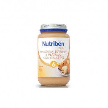 Potito Nutribén Grande Manzana, Plátano y Galletas 250gr - Alimento Bebés +6 meses