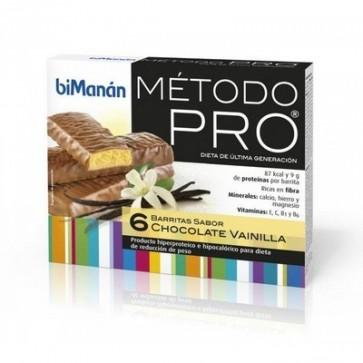 Bimanán Pro Barritas Choco-Vainilla 6 U - Alimento Sustitutivo para Dietas Proteinadas e Hipocalóricas
