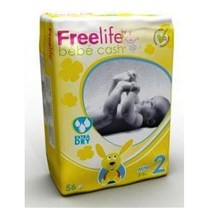 Freelife Pañal Bebé Cash 2 Mini 3-6 Kg 56 Unidades