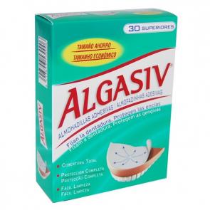 Algasiv Dentadura Superior Fijación Extra 30 Almohadillas Adhesivas