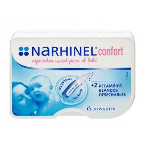 Narhinel Confort Aspirador Nasal + 2 Recambios Blandos Desechables - Higiene Nasal del Bebé