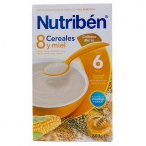 Papilla Nutriben 8 Cereales Miel y Galletas María  600 G - Papilla + 6meses