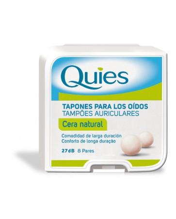 Tapones Oído Quies Cera Natural 16 Uds - Hipoalergénicos con Cobertura de Algodón Reducción de Ruido
