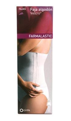 Faja Farmalastic Velcro Beige Talla1 - Algodón Transpirable para Dolores Lumbares Post-Operatorio Post-Parto