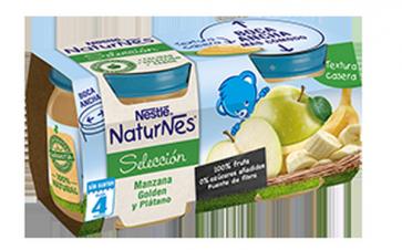 Nestlé Naturnes Manzana Golden y Plátano - Bipack 2 Uds de 200 gr 100 % Natural Sin Glúten