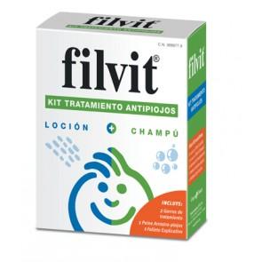 Filvit Kit Tratamiento Antipiojos Loción + Champú + Peine - Piojos y Liendres