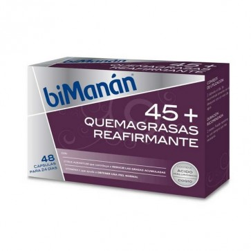 Bimanán 45+ Quemagrasa Reafirmante 48 Cápsulas - Reduce Grasas Acumuladas, Ácido Hialurónico, Coenzima Q10