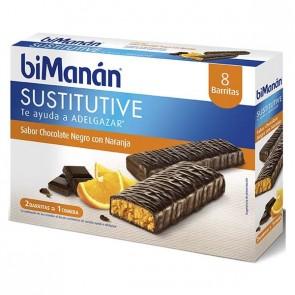 BiManán Barrita Chocolate Negro Naranja 8U - Sustitutivo De La Comida Para Control Del Peso