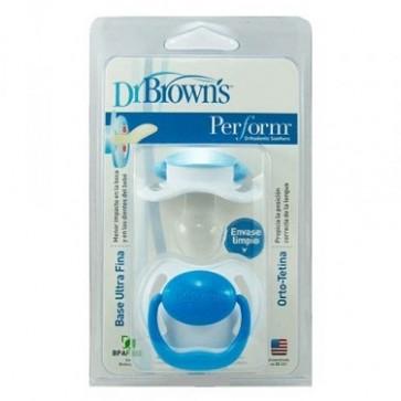Chupete Dr Brown'S Perform Azul 0-6M 2Ud - Promueve el Desarrollo Adecuado de la Cavidad Oral