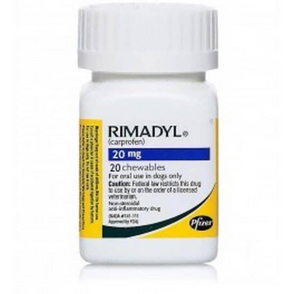 Comprar Rimadyl 20 Comprimidos Masticables 20 mg para Perros- Disminución de Inflamación y Dolores Musculares