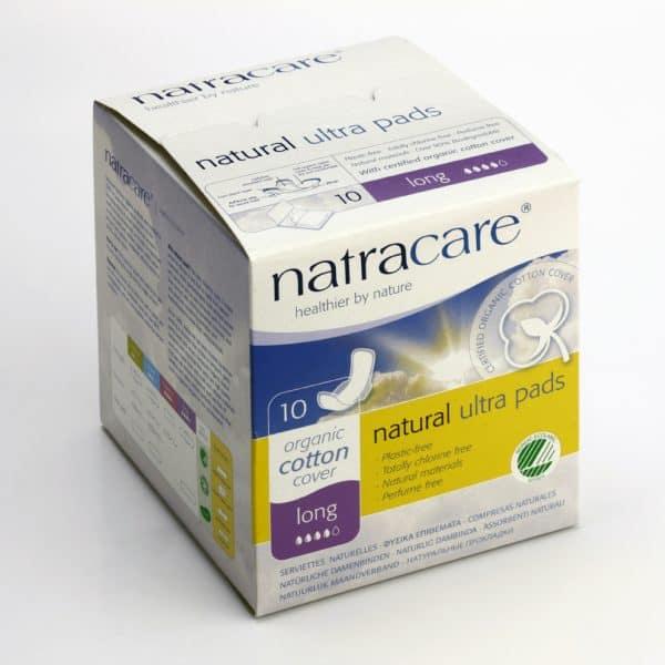 Comprar Compresa Extra Larga con Alas Natracare indicadas para absorber grandes cantidades de regla. Contiene celulosa y algodón ecológico.