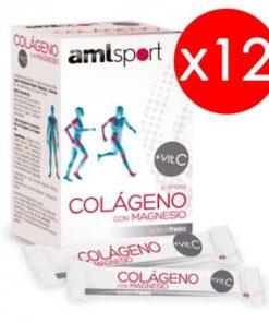 12 Cajas AML Sport Colágeno Con Magnesio 20 Sticks Sabor Fresa