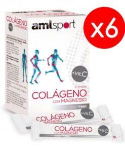 6 Cajas AML Sport Colágeno Con Magnesio 20 Sticks Sabor Fresa