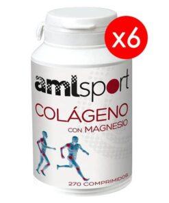 6 Botes AML Sport Colágeno con Magnesio 270 Compr
