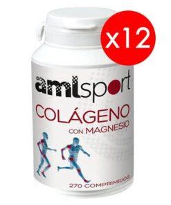 12 Botes AML Sport Colágeno con Magnesio 270 Compr