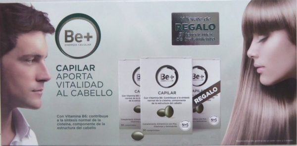 Comprar Pack Be+ Capilar Aporta Vitalidad al Cabello 30 Comprimidos por Envase - Tratamiento de 3 meses con Vitamina B6