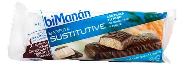 BiManán Sustitutive Barrita Chocolate Negro y Blanco 8 U - Sustitutivo Controla Tu Peso