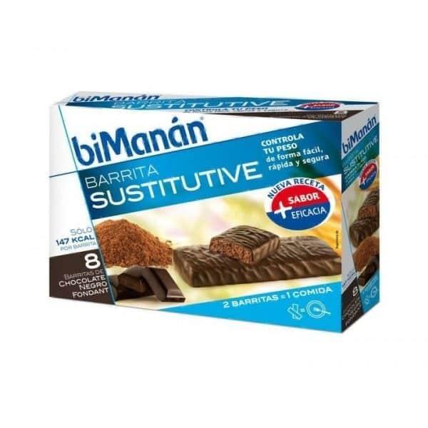BiManán Barritas Chocolate Negro Fondant 24 Ud - Sustituvo De Comida Para Control Del Peso
