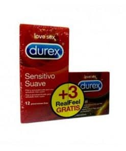 Durex Sensitive Suave 12 Unidades + Real Feel 3 Unidades