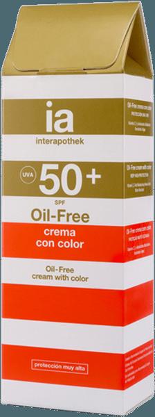 Oil-Free Crema Facial 50 ml Protectora Solar con SPF 50+ de Interapothek - Con Color - Resistente al Agua y Alta Protección