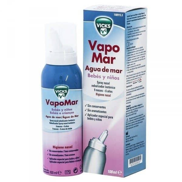 Comprar Vicks Vapomar Agua de Mar Spray Nasal Isotónico para Bebés y Niños 100 ml  - Congestión Nasal